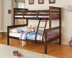 Haley Walnut Twin over Full Bunk Bed
