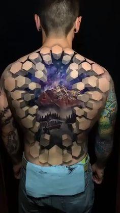 An Amazing Back Tattoo.-- An Amazing Back Tattoo. Amazing 3d Tattoos, Cool Small Tattoos, Beautiful Tattoos, Best 3d Tattoos, Best Tattoos For Men, Black Men Tattoos, Dope Tattoos, Badass Tattoos, Body Art Tattoos