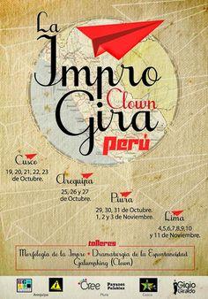 Afiche promocional GIRA IMPRO - CLOWN PERÚ 2013.
