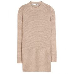 Marni Knitted Sweater Dress (845 AUD) ❤ liked on Polyvore featuring dresses, vestiti, beige, marni, pink sweater dress, marni dress, beige sweater dress and pink dress