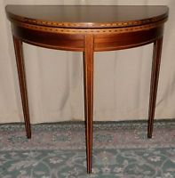 BRANDT MAHOGANY GAME TABLE Inlaid Flip Top Gate Leg Demilune Game Table VINTAGE