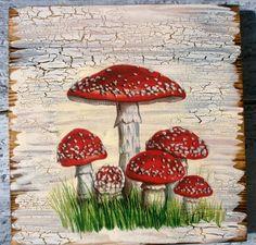 Obrázek houby muchomůrka velikost 20x20cm,decoupage-krakelování,deštička 1,8cm s uškom na zavesenie Decoupage, Printable Art, Printables, Hobgoblin, Hobby Ideas, Pixies, Wood Work, Painting On Wood, Gnomes