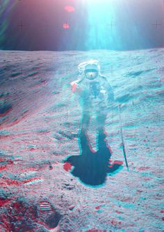 3-D SPACEMAN – Apollo 16 astronaut Charlie Duke on the Moon, April 21, 1972, in a red-blue anaglyph composed from two photos by John Young. (NASA)
