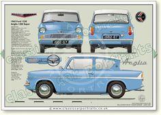 Ford Anglia Super 123E 1962-67 classic car portrait print
