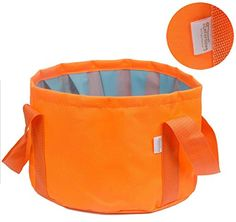 Interthing 15L Foldable Outdoor Water Bag Basin Multifunctional Folding Bucket with Carrying Pouch for Travel CampingOrange >>> For more information, visit image link.