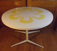 1970's  Chromcraft Round  Mod Yellow Flower Laminate and Enamel Dining Table #MidCenturyModern #Chromcraft