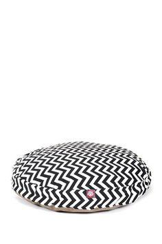 Black Zig Zag Small Round Pet Bed