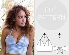 Womens halter neck bralet style cropped-top, with tie back f.-Womens halter neck bralet style cropped-top, with tie back fastening Givenchy Couture, Elie Saab Couture, Pdf Sewing Patterns, Free Sewing, Clothing Patterns, Tile Patterns, Beginner Knitting Patterns, Shirt Patterns, Sewing Stitches
