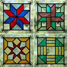 NEW Set of 4 Stained Glass Quilt Pattern Suncatcher 408