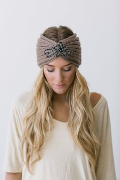 Crystalline Knitted Headband Bohemian Accessories Taupe Ear Warmer Boho Hair Bands Beaded Medallion Free Spirited Hair Accessories in Taupe