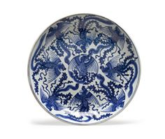 A BLUE AND WHITE 'PHOENIX' DISH
