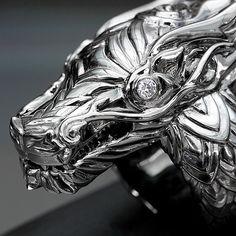 Deific Dragon King Ring in custom black rhodium finish. #deific