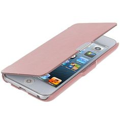 Apple iPod Touch 5th 6th Generation Light Pink Texture Magnetic Wallet Case Cover Pouch Angle 1