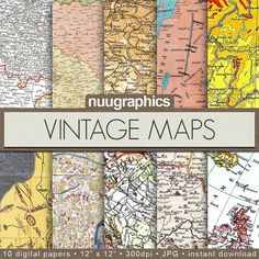 Vintage maps digital paper VINTAGE MAPS with old by NUUGraphics, $4.80