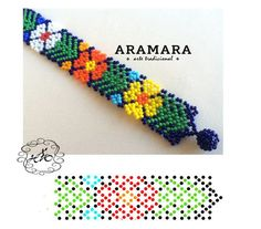 Mexican Huichol Beaded Flower Bracelet by Aramara Seed Bead Patterns, Peyote Patterns, Loom Patterns, Beading Patterns, Bead Loom Bracelets, Beaded Bracelet Patterns, African Beads Necklace, African Beaded Bracelets, Mexican Jewelry