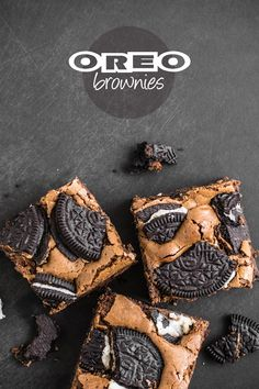 Oreo Brownies Recipe:   Yield: 16 brownies in a 8x8x3-inch (20cm) square pan Cooking time: 30-35 minutes Ingredients: 5 1/2 oz (165g) unsalted butter; 7 oz (200g) semi-sweet chocolate, finely chopped; 4 eggs; 5 1/2 oz (165g) light brown sugar;  3 tbsp all-purpose flour; 1 tbsp cocoa powder; A pinch of salt; 16 Oreo cookies, broken into pieces