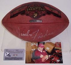 Jimbo Fisher Autographed Hand Signed Official NCAA FSU Seminoles National Champs Game Model Football