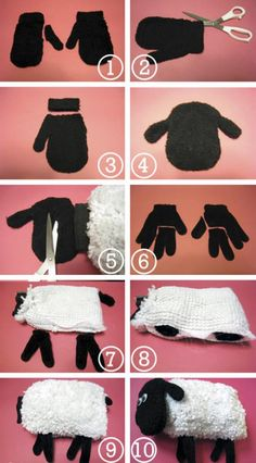 sheep plush out of mitts and gloves 2019 Comment recycler une vieille paire de moufles ? Ou l'art de faire un doudou mouton avec des gants et moufles The post sheep plush out of mitts and gloves 2019 appeared first on Wool Diy. Sheep Crafts, Sock Crafts, Fabric Crafts, Sewing Crafts, Sewing Projects, Car Wash Mitt, Shaun The Sheep, Sock Toys, Sock Animals