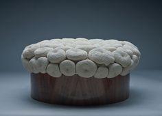 Souffle. Cotton soufflé formed by 76 crocheted shapes in a wooden walnut mould. Monomoka