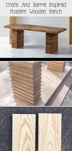 Crate And Barrel Inspired Modern Wooden Bench - woodworking projects beautiful Diy Wood Bench, Bench With Back, Pine Boards, Wood Sizes, Wood Glue, Crate And Barrel, Woodworking Projects, Crates, Entryway Tables