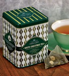 White Christmas Tea from Harney & Sons, infused with almonds, vanilla, and cardamom, brings holiday cheer to your cuppa.