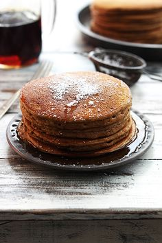 Fluffy gingerbread pancakes with cinnamon maple syrup!