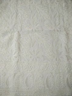 white cotton appliqué and chikankari jaalidar fabric online