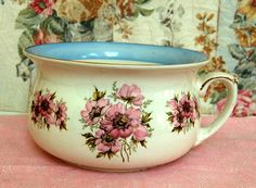 SALE ...Vintage Floral Chamber Pot Md In England Free Ship in US. $39.00, via Etsy.
