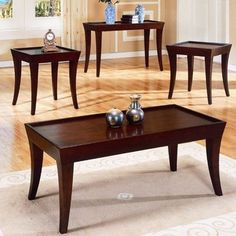 Trent Home Zen 3 Piece Occasional Table Set in Espresso (Brown) Coffee Table End Table Set, Wood Sofa Table, 3 Piece Coffee Table Set, End Table Sets, Sofa Tables, Coffee Tables, Zen Furniture, Living Room Furniture, Furniture Showroom