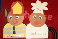 Community helpers craft- from blog with other community helper cross-curricular connection ideas.