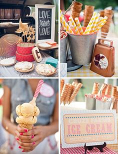 Cool off your wedding guests with a unique dessert idea, an ICE CREAM BAR!