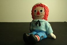 The Bobbs-Merrill Inc 1974 hand painted ceramic Raggedy Andy doll figurine #TheBobbsMerrillInc #Dolls