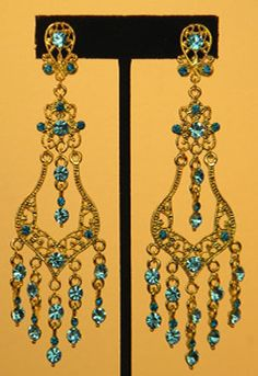 Vintage Style Goldtone Chandelier Clip On Earrings  Accented with Aqua Blue Rhinestones