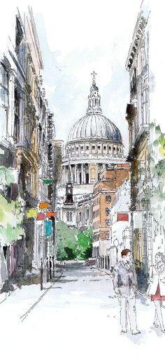 Original watercolour of St Paul's London