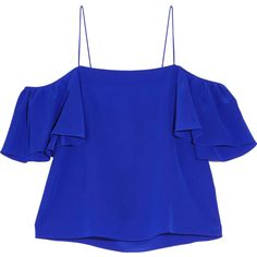 Fendi Off-the-shoulder silk crepe de chine top (8,650 MXN) ❤ liked on Polyvore featuring tops, shirts, blouses, fendi, crop top, cobalt blue, cropped shirts, off-the-shoulder crop tops, off the shoulder shirts and ruffle top
