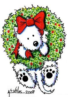 Wreath Wrangler Westie by Kim Niles