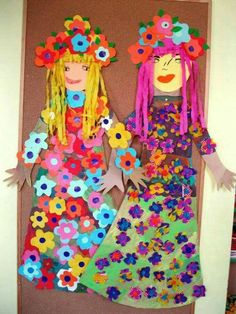 Beautiful dolls to make during summer vacation. Kids Crafts, Projects For Kids, Diy And Crafts, Arts And Crafts, Spring Art, Spring Crafts, Cardboard Crafts, Paper Crafts, Toddler Art