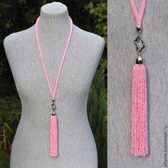 Купить Горячий розовый - колье-подвес - бисерный жгут, колье из бисера, украшения из бисера