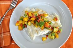 Halibut with Peach-Avocado Salsa. A late season harvest of fresh peaches makes a delicious Fresh Peach and Avocado Salsa served over Alaskan halibut. Halibut Fishing, Healthy Sides, Superfood, Seafood Recipes, Salsa, Healthy Living, Avocado, Nutrition, Fresh