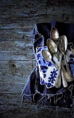Antique flatware on blue& white ceramic tile... Blueberry Hill Farm