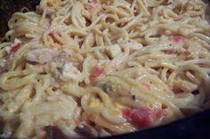 Crockpot cheesy chicken spaghetti