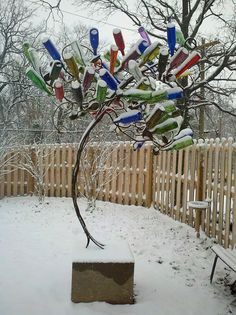 bottle tree in the winter, pretty
