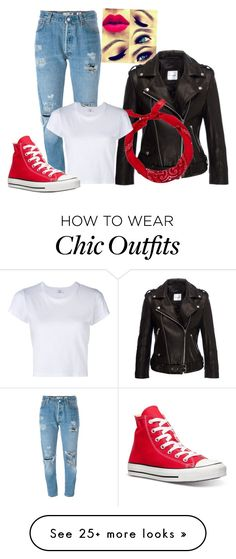 """""""50's-60's Look"""" by richinfashion on Polyvore featuring Levi's, Anine Bing, New Look, RE/DONE and Converse"""