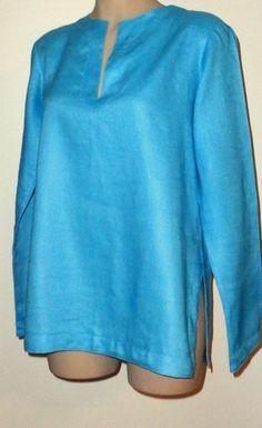 LAUREN RALPH LAUREN Split Neck Linen Tunic - Turquoise M/L  #LaurenRalphLauren #Tunic #Everyday