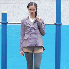 Purple Blue And Grey Checked Blazer @Noveltylane.com