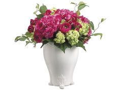 Hydrangea/Snowball/Ranunculus in French Vase Beauty Green