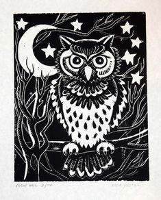 Night Owl - Linocut Print