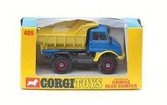 Mettoy Corgi diecast No.409 Mercedes Benz Unimog Rear Dumper Mercedes Benz Unimog, Corgi Toys, Diecast Models, Classic Toys, Vintage Toys, Robots, Hot Wheels, Childhood, Construction