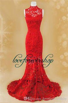 Red Prom Dresses 2015 High Neck Romantic Lace Chinese Style Cheongsam Mermaid Mandarin Floor Length Evening Dresses Short Prom Dress White Formal Dresses From Loveforevershop, $138.22| Dhgate.Com