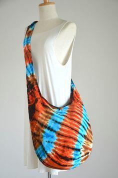 Tie Dye Bag Hippie Bag Hobo Bag Sling Bag Cotton by Dollypun